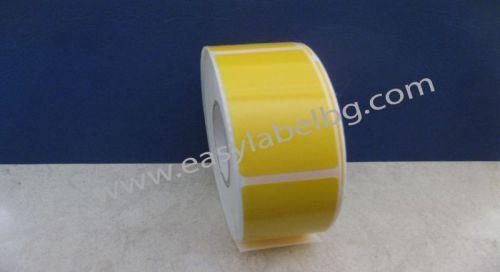 Водоустойчиви самозалепващи напечатани жълти PVC етикети / стикери, 30mm x 110mm, 500бр. (Печат по ваше задание - с поръчка!)