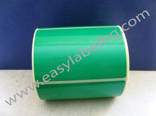 Зелени термодиректни самозалепващи етикети на ролка, 100mm x 150mm /1/ 300,  Ø25mm