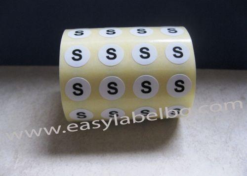 Етикети за РЪСТОВИ МАРКИ S, бели с черен надпис, Ø10mm