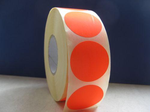 Самозалепващи етикети,сигнален цвят:червен, ф35mm,брой на ред: 1, в ролка: 1250бр., шпула Ф40mm