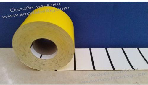 Етикети за стелажи на ролка, термодиректен картон, 70mm х 38mm, жълти, 1000бр.
