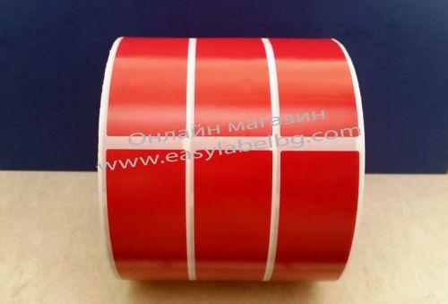 Самозалепващи етикети, полиетилен(PE), червен 30mm х 110mm /3/ 3000, Ø76mm