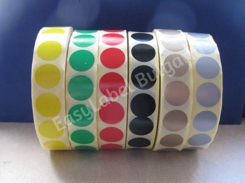Кръгли самозалепващи се етикети на ролка, 6 цвята, Ф19mm, 12 000бр. в ролка