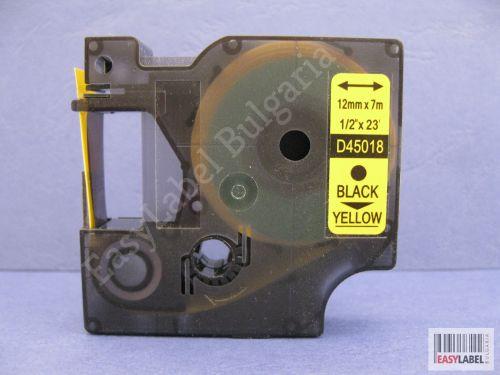 50 x Съвместима лента Dymo D1 45018, S0720580, 12mm х 7m, черно върху жълто