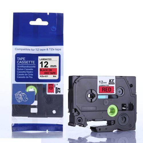 Съвместим Brother TZe-431 Tape Black on Red Laminated 12mm