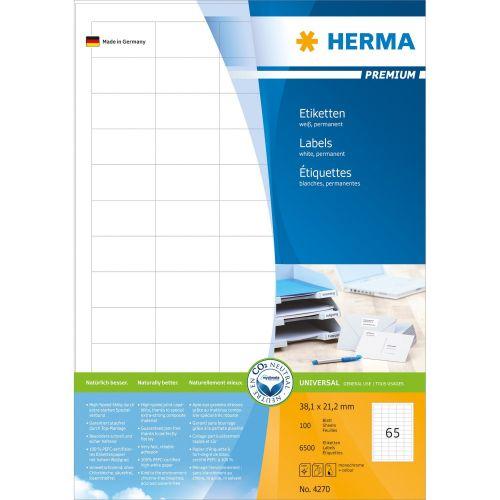 Самозалепващи етикети Herma, 38.1х21.2mm, 100л., (6500бр.)