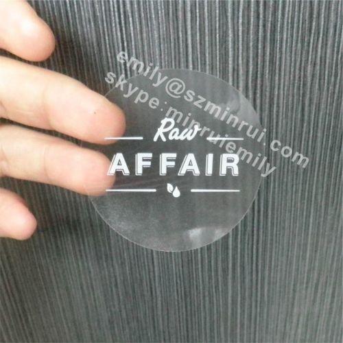 ОТВОРИ ТУК! - Напечатан прозрачен самозалепващ се кръгъл стикер от PVC фолио, БЯЛ НАДПИС, Ø25mm, 500бр.