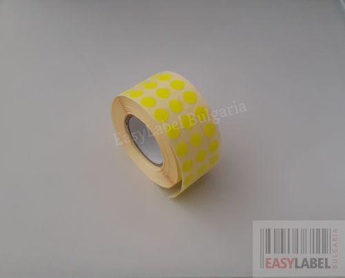 Цветни кръгли стикери за ОТК контрол - самозалепващи етикети на ролка, диаметър 10mm, 25 000 бр., жълти, зелени, червени, оранжеви