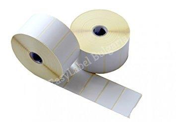 Водоустойчиви самозалепващи напечатани бели PVC етикети / стикери, 30mm x 62mm, 500бр. (Печат по ваше задание - с поръчка!)