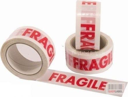 """Опаковъчно тиксо с печат """"FRAGILE"""", 50mm x 50m"""