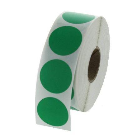 Зелени кръгли самозалепващи се етикети на ролка,  Ø73mm, 1 000бр. в ролка