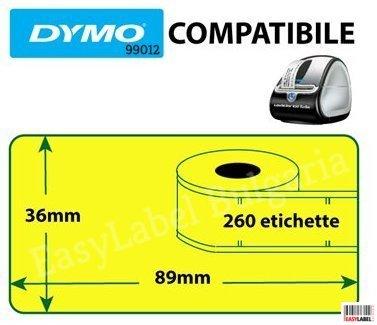 Съвместими 99012 Dymo етикети, 36mm x 89mm, жълти