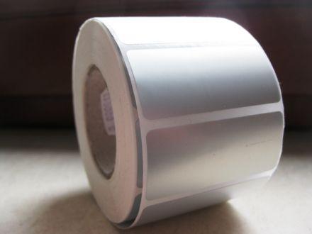 Сребристи самозалепващи етикети на ролка, полиестер (PET), 100mm x 60mm /1/ 1 000, Ø40mm