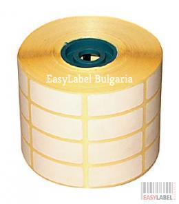 50ролки, Термодиректни етикети DATECS 30mm x 12/56mm, без черна лента, 3 000 етикета в ролка