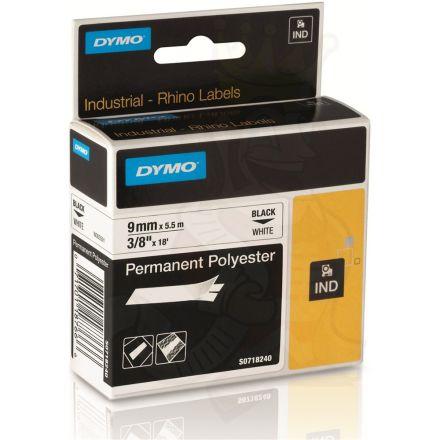 Dymo RhinoPRO 18766 / 18482 - 9mm X 5,5m Бял Траен(Перманентен) Полиестер