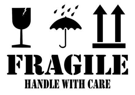 "Етикети FRAGILE - ""Keep dry"", ""This side UP"", ""HANDLE WITH CARE"", 102mm x 194mm, 100бр."