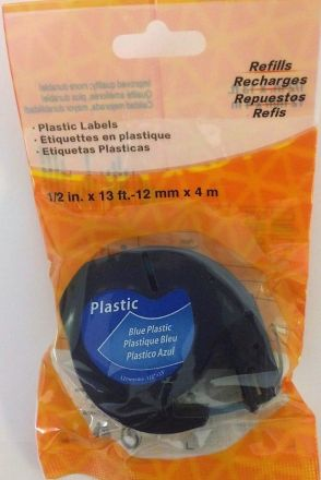 Съвместима DYMO LetraTag 91201, пластмасова лента, 12mm x 4m, бяла