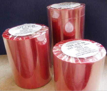 """Термотрансферна лента, восъчна - WAX, 40mm X 360m, шпула ф(1"""")25,4mm, OUT, червена"""