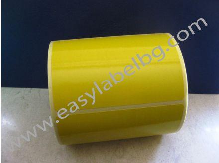 Жълти термодиректни самозалепващи етикети на ролка, 100mm x 150mm /1/ 300,  Ø25mm