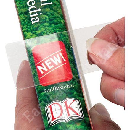 Прозрачен самозалепващ се правоъгълен стикер от PVC фолио, 35mm x 15mm, 10 000бр., с черна марка(репер)