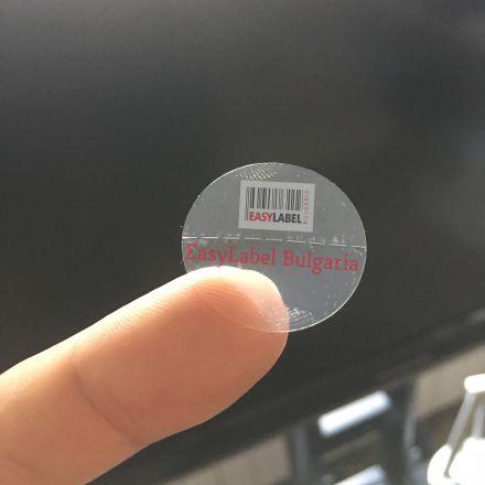Прозрачен самозалепващ се кръгъл стикер от PVC фолио, Ø25mm, 6 000бр.