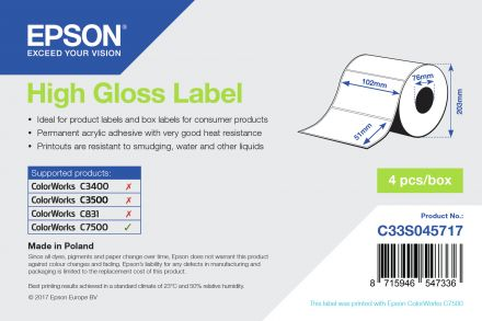C33S045717 Epson High Gloss Label - 102mm x 51mm for ColorWorks C7500 Inkjet Printer