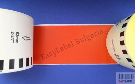 Непрекъсната червена хартиена лента, 62mm x 30.48m