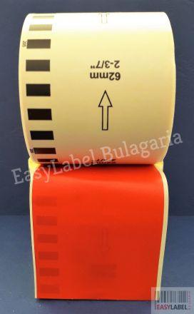 Непрекъсната червена хартиена лента Brother DK-2205, 62mm x 30.48m, Removable(съвместими)