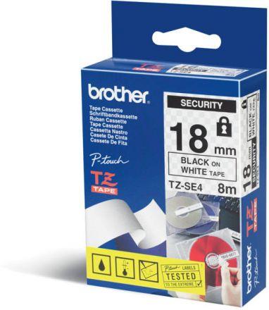 Оригинален Brother TZe-SE4 - черен текст на бяла лента, ширина - 18mm