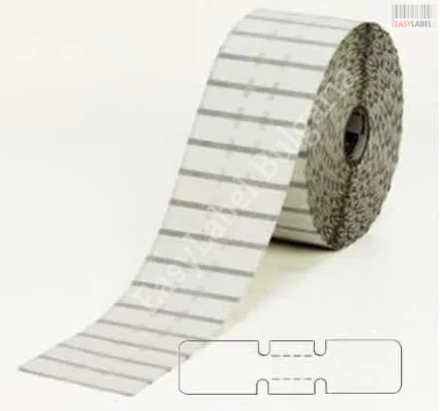 Бели PVC самозалепващи етикети за бижута, 56mm x 13mm