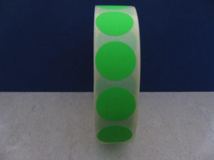Зелени самозалепващи кръгли етикети на ролка, сигнален цвят, Ø40mm, 1200бр.