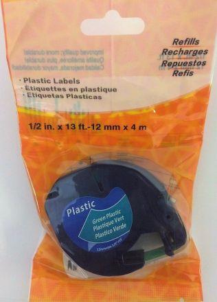 Съвместима DYMO LetraTag 91202, пластмасова лента, 12mm x 4m, жълта