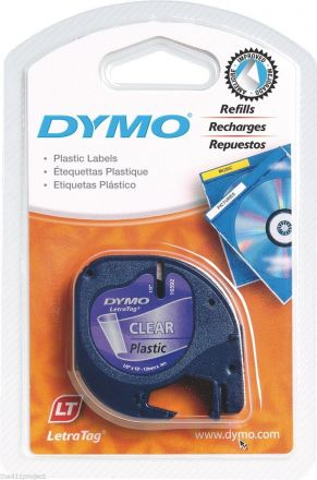 Пластмасова лента DYMO 12267, 12mm X 4m, прозрачна