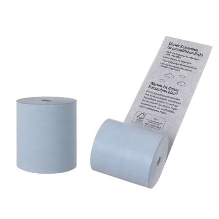 Сини касови ролки от екологична термохартия Blue4Est, 80mm x 80m