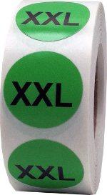 Етикети за РЪСТОВИ МАРКИ XXL, зелени с черен надпис, Ø35mm, 400бр.