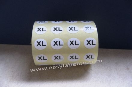 Етикети за РЪСТОВИ МАРКИ XL, бели с черен надпис, Ø10mm, 1600бр.