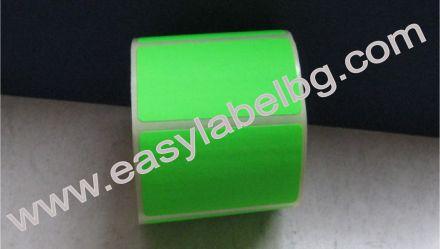 Самозалепващи етикети на ролка, сигнален цвят: зелени, 100mm X 70mm