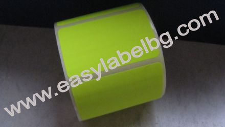 SELF-ADHESIVE LABEL ROLL, Fluorescent colour: yellow, 100mm X 70mm
