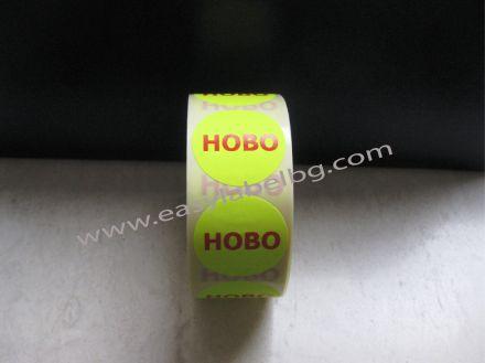 """Етикети """"NEW"""", жълти с червен надпис, Ø25mm"""