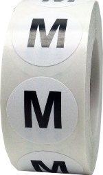 Етикети за РЪСТОВИ МАРКИ M, бели с черен надпис, Ø35mm, 300бр.