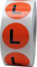 Етикети за РЪСТОВИ МАРКИ L, оранжеви с черен надпис, Ø25mm, 500бр.