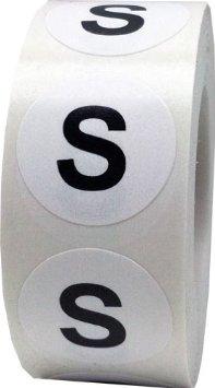 Етикети за РЪСТОВИ МАРКИ S, бели с черен надпис, Ø35mm, 400бр.