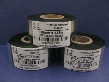 Черна термотрансферна лента за дата устройствa, Кодинг фолио, Hot Foil, 30mm x 122m
