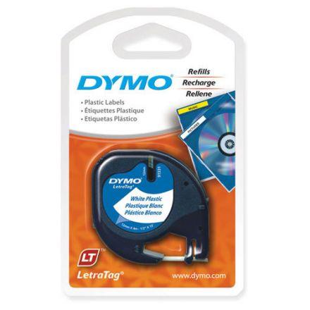 Dymo 91201 Бяла пластмасова лента LetraTAG, 12mm X 4m