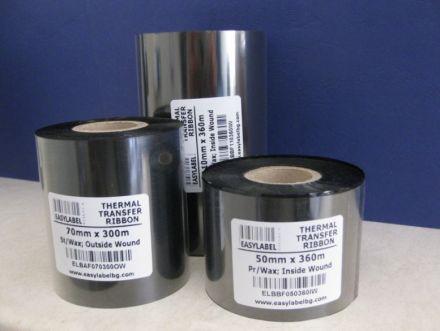 Термотрансферна лента, Premium WAX, Черна, 65mm х 360m, IN