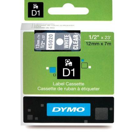 ЛЕНТА D1 за Dymo Label Manager, 12mm X 7m, прозрачна, бял надпис