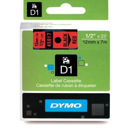 ЛЕНТА D1 - Dymo 45017,  12mm X 7m, червена, черен надпис