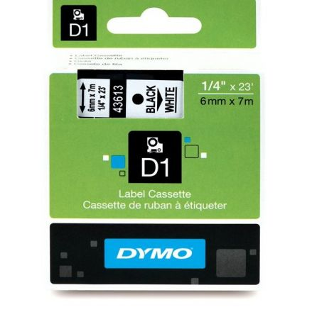 Dymo D1 43618 Tape 6mm x 7m, Black On White