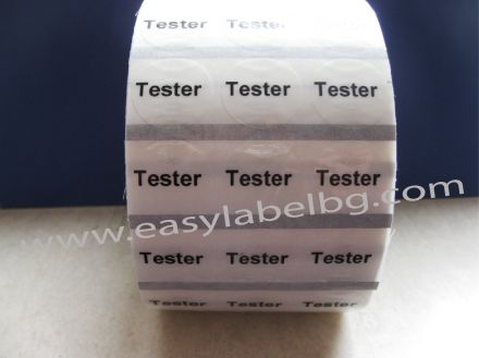 """Прозрачни етикети с надпис """"Tester"""" - Kръгли напечатани стикери с диаметър Ø25mm"""