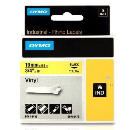 Dymo RhinoPRO 18433 -19mm X 5,5m Жълт Винил/Черен Надпис